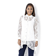 Yong Kim Long Lace Shirt with Gathered Back Panel