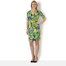 Tiana B 1/2 Sleeve Blurred Floral Wrap Dress