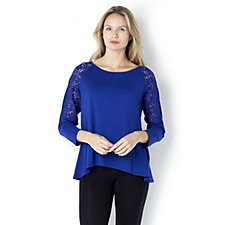 Casual & Co Stretch Lace Sleeve Top