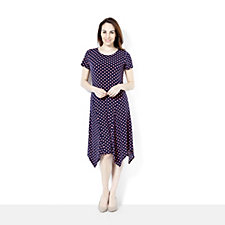 158485 - Short Sleeve Uneven Hemline Printed Dress by Nina Leonard