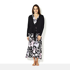 Carole Hochman Printed Dress Cardigan Set