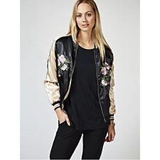 Bonnie Day Embroidered Satin Bomber Jacket