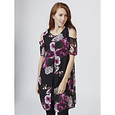 Grace Cold Shoulder Chiffon Tunic with Front Split Detail