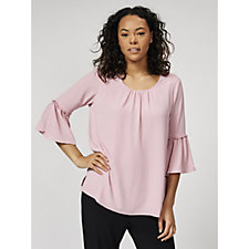 Georgette Flare Sleeve with Frill Tunic by Michele Hope