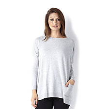 Diane Gilman Round Neck Dolman Sleeve Sweater with Drop Pocket