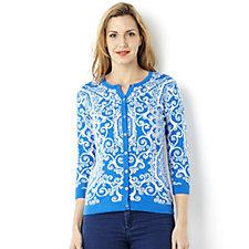 Isaac Mizrahi Live Jacquard Knit Tile Pattern Cardigan