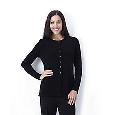 127786 - Kim & Co Stretch Jersey Long Sleeve Crew Neck Cardigan