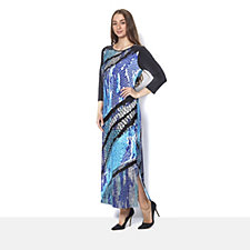 Bob Mackie 3/4 Sleeve Fantasy Reptile Print Maxi Dress