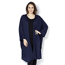Join Clothes Jersey Grown On Sleeve Burnout Stripe Duster Cardigan