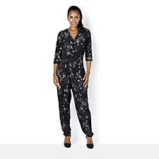 Kim & Co Artistic Print Brushed Venechia 3/4 Sleeve Jumpsuit
