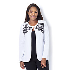 Bob Mackie Embroidered Edge To Edge Jersey Jacket