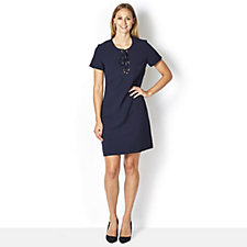 Ronni Nicole Stretch Crepe Dress with Lace Up Neckline Detail