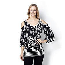 Coco Bianco 3/4 Sleeve Printed Jersey Cold Shoulder V Neck Top