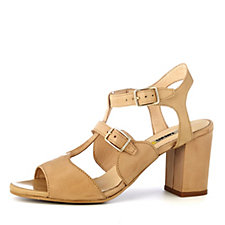 Manas Leather Heeled T Bar Sandal