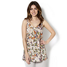 Kim & Co Sweet Floral Shantung Sleeveless Tunic