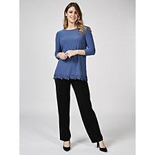 3/4 Sleeve Pleat Back Tunic with Crochet Hem by Nina Leonard