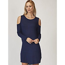 Anybody Brushed Hacci Long Sleeve Cold Shoulder Dress