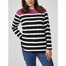 Denim & Co. Placement Stripe Boat Neck Long Sleeve Top