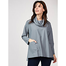 Yong Kim Jersey Cowl Neck Tunic with Front Pocket
