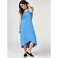Isaac Mizrahi Live Sleeveless Maxi Dress with Hi Lo Tulip Hem Regular