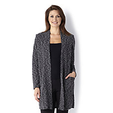 Kim & Co Boucle Detail Long Sleeve Duster Cardigan