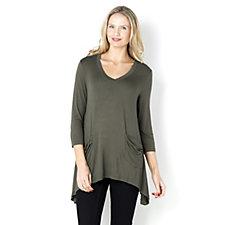 138587 - Logo by Lori Goldstein V-Neck Viscose 3/4 Sleeve Tunic
