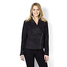 H by Halston Faux Suede Asymmetric Zip Jacket