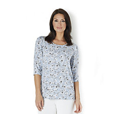 Kim & Co Monotone Petunias Brazil Knit Jersey 3/4 Sleeve Scoop Neck Top
