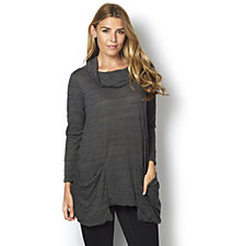 Yong Kim Crinkle Long Line Tunic with Drape Neck
