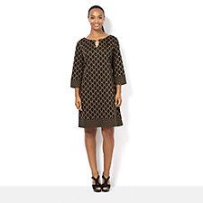 Ronni Nicole Geometric Print Shift Dress with Neck Detail