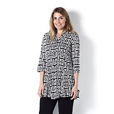 Geometric Print Lace Shirt by Michele Hope