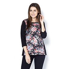 Artscapes Valencia Floral Round Neck 3/4 Sleeve Top