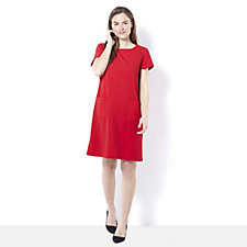 Ronni Nicole Short Sleeve Shift Dress  w/ Patch Pockets & Zip Back