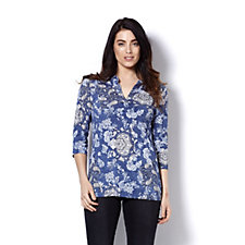 Mr Max 3/4 Sleeve Half Placket Detail Printed Top
