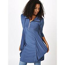 3/4 Sleeve Dress with Draped Side Pockets & Zipper Detail by Nina Leonard