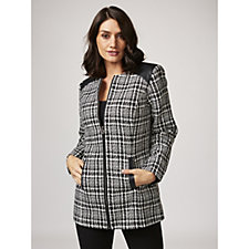 Dennis Basso Tweed Zip Front Jacket with Faux Leather Trim