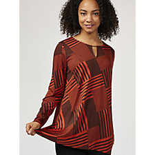 Antthony Designs Long Sleeve Printed Tunic with Hi Lo Hem & Keyhole Detail