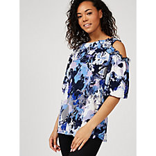 Printed Top with Cold Shoulder & Ruffle Detail by Nina Leonard