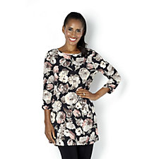 Kim & Co Painters Floral Brazil Knit 3/4 Ruched Sleeves Swing Tunic