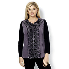 Bob Mackie Embroidered Zip Front Fleece Waistcoat