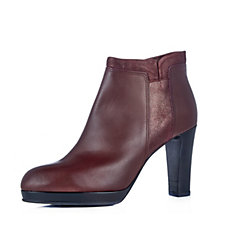 Manas Leather Ankle Boot with Suede Detail