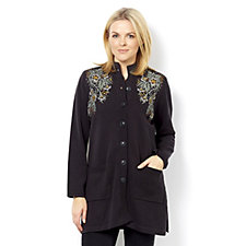 Bob Mackie Embroidered Shoulder Button Through Cardigan
