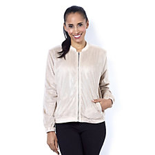 H by Halston Laser Cut Faux Suede Bomber Jacket