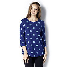 C. Wonder Floral Polka Dot 3/4 Sleeve Top
