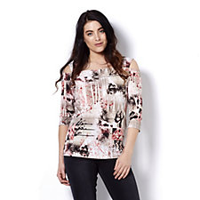 Mr Max Printed Cold Shoulder Top
