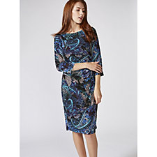 Ronni Nicole 3/4 Sleeve Printed Dress with Side Drape Detail