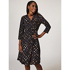 H by Halston 3/4 Sleeve Wrap Dress