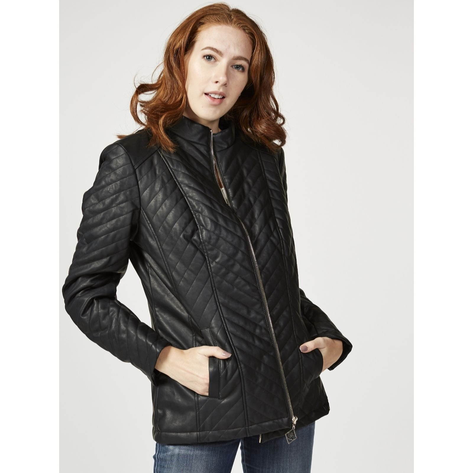 pin jacket city faux quilted trim down new york quilt leather coat dkny pinterest