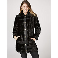Dennis Basso Sculpted Faux Mink Coat