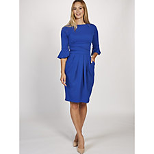 Tammy 3/4 Fluted Sleeve Dress by Onjenu London